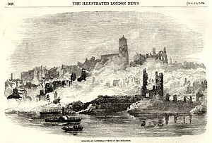 Great fire of Newcastle and Gateshead - Image: Newcastle and Gateshead Great Fire 1854 Bonded warehouse Bonded warehouse Illustrated London News