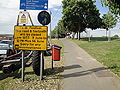 Newport Seaclose Park path closed sign.JPG