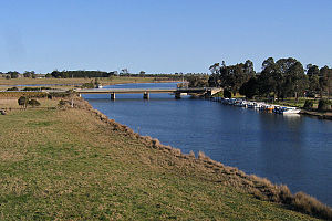 Nicholson River (Victoria) - Looking south along the river from the East Gippsland Rail Trail trestle bridge at Nicholson.