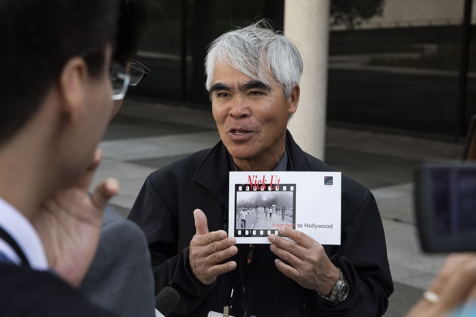 Nick Ut speaks with the press