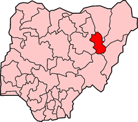 Location of Gombe State in Nigeria