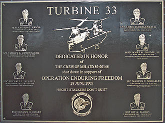 Operation Red Wings - Memorial plaque in memory of the U.S. Army Night Stalkers killed in Operation Red Wings