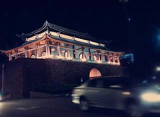 Guancheng Subdistrict - The night view of Ying'en Men in West Gate Avenue of Guancheng Subdistrict.