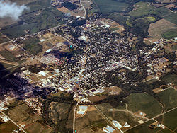 North Manchester, Indiana from the air looking northeast