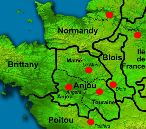 Northern France around the time of Henry's death; red circles mark major urban centres North West France 1150.png