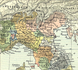 Northern Italy in 1494: Este territories (Modena, Reggio and Ferrara) in yellow