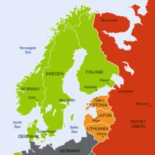 Un mapa geopolítico del norte de Europa donde Finlandia, Suecia, Noruega y Dinamarca están etiquetados como naciones neutrales y se muestra a la Unión Soviética con bases militares en las naciones de Estonia, Letonia y Lituania.