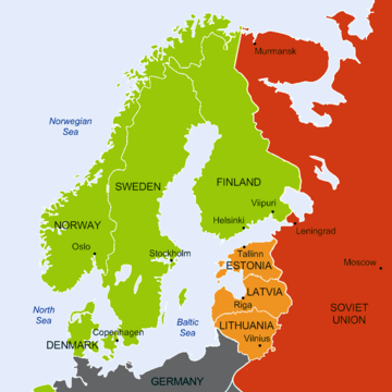 A geopolitical map of Northern Europe where Finland, Sweden, Norway and Denmark are tagged as neutral nations and the Soviet Union is shown having military bases in the nations of Estonia, Latvia and Lithuania.