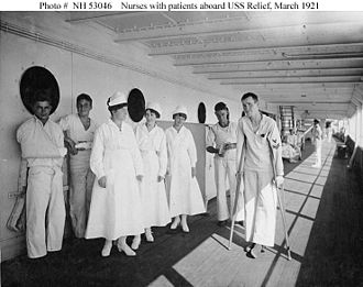 USS Relief (AH-1) - Nurses and their patients aboard USS Relief in 1921