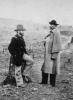 Orville E. Babcock - Orville E. Babcock (left) and Orlando M. Poe (right), Union Engineers in Ft. Sander's salient. Photograph by Barnard, 1863–1864.