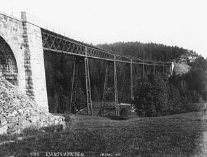 Østfold Line - The Ljan Viaduct was perhaps the most spectacular steel bridge along the line. It was ultimately demolished in 1929.