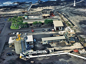Ocean thermal energy conversion - View of a land based OTEC facility at Keahole Point on the Kona coast of Hawaii