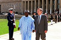 Olusẹgun Obasanjo with Donald Rumsfeld at The Pentagon
