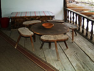 Chair - Five three-legged chairs around a low-legged table from Sliven 19th Century Lifestyle Museum