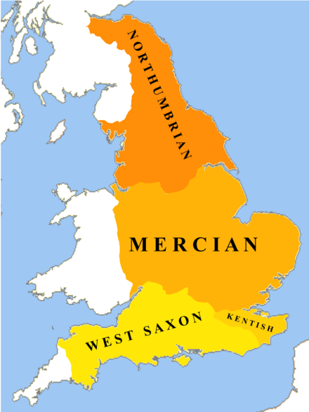 The dialects of Old English c. 800 CE Old English Dialects.png