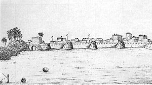 History of Karachi - A sketch of the old fort at Karachi from the 1830s.