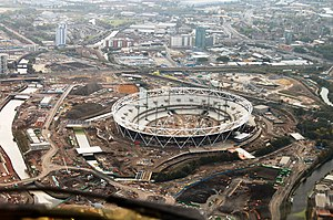 Bow Back Rivers - The Olympic Stadium under construction among the Bow Back Rivers. (Waterworks River and City Mill River at left, Lea Navigation at bottom right, Three Mills Wall River and Prescott Channel at top left.)