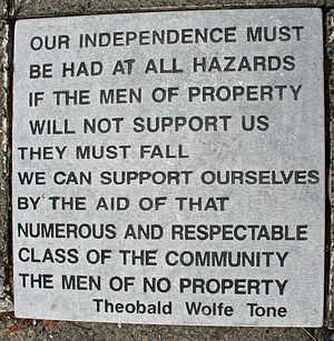 Wolfe Tone - One of the inscribed flagstones on the steps leading to the grave of Theobald Wolfe Tone