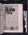 Opening of first book, miniature with large blue initial, border design, arms of first owner, placemarkers, rubric (NYPL b12455533-426079).tif