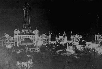 Luna Park - Night photograph of original Tsutentaku Tower overlooking Luna Park, Osaka in 1912.