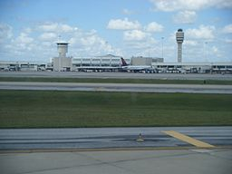 Orlando International Airport terminal from arriving airplane