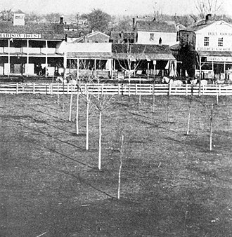 Oskaloosa, Iowa - East side of public square, 1864