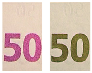 "Optically variable ink - 50 euro note details, seen from different angles. ""50"" was printed with OVI."