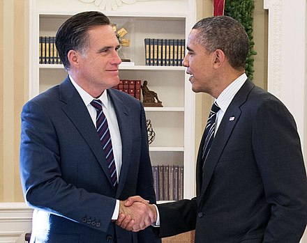 Obama greets former Governor Mitt Romney in the Oval Office on November 29, 2012, in their first meeting since Obama's re-election victory over Romney P112912PS-0444 - President Barack Obama and Mitt Romney in the Oval Office - crop.jpg