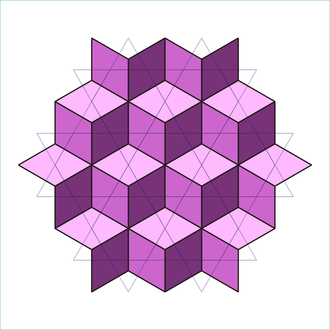 Rhombille tiling - The rhombille tiling overlaid on its dual, the trihexagonal tiling