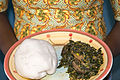 POUNDED YAM & VEGETABLE SOUP. A native delicacy of the Yoruba tribe in Nigeria, West Africa..jpg