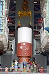 PSLV C43 - HySIS launch campaign, Core base segment of PSLV C43 first stage being placed.jpg