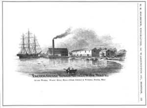 Woods Hole, Massachusetts - Pacific Guano Works, Woods Hole, ca.1860s; engraving by S.S. Kilburn