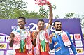Pankaj Kumar of India won the Bronze Medal, PJMJ Silva of Sri Lanka won the Gold and MANR Appuhamy won the silver Medal, in the 60 Km Criterium Race of Men's in the cycle events of the 12th South Asian Games-2016.jpg