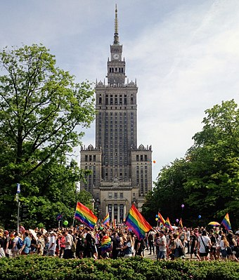 The Parada Rownosci in Warsaw in 2018, when the Court of Justice declared that same-sex spouses have EU residence rights. Parada Rownosci 2018 01.jpg