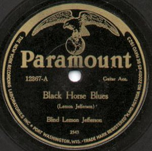 Blind Lemon Jefferson - Label of one of Jefferson's Paramount records, 1926