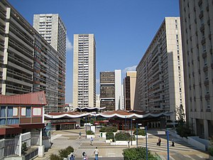 Demographics of Paris - The Olympiades towers with the pagoda roof shopping centre, Chinatown, Paris