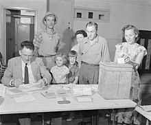 Parliament – elections – electors at polling booth, 1958