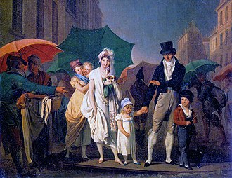 Paris under Napoleon - Family of Parisians trying to cross a muddy street in the rain (By Boilly, 1803)