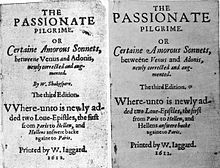 Two versions of a title page of an anthology of poems, one showing Shakespeare as the author, while a later, corrected version shows no author