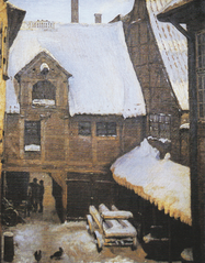 Wintery view at Mikkel Vibe's House (also known as Sigvert Grubbe's House) on Strandgade in Christianshavn, Copenhagen.