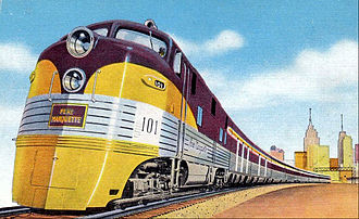 CSX Plymouth Subdivision - A postcard depiction of Pere Marquette's passenger trains in Michigan