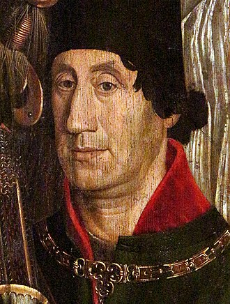 Peter, Duke of Coimbra - Detail from the St Vincent Panels by Nuno Gonçalves, often believed to be a portrait of Peter, Duke of Coimbra.