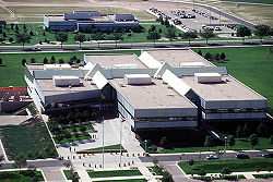 Peterson AFB's Hartinger Building which is the headquarters of Air Force Space Command.