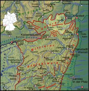 Stumpfwald - The Stumpfwald (orange) within the Palatine Forest