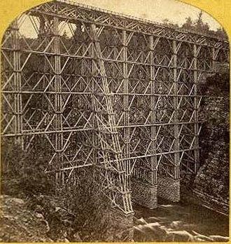 Genesee Arch Bridge - The first bridge, a wooden trestle, in 1864