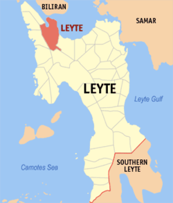 Map of Leyte with Leyte highlighted