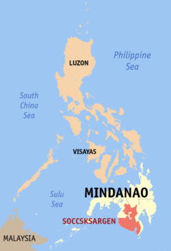 Map of the Philippines showing the location of Region XII