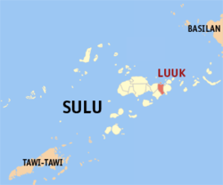 Map o Sulu showin the location o Luuk