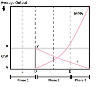 Fei–Ranis model of economic growth - Depiction of Phase1, Phase2 and Phase3 of the dual economy model using average output.