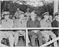Photograph of President Truman and other dignitaries on the reviewing stand during an Armed Forces Day parade, (left... - NARA - 200222.tif